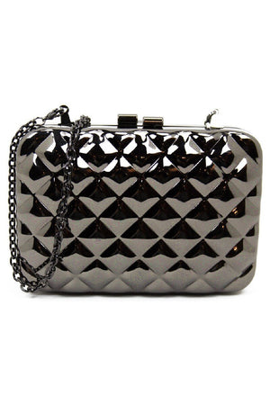 METALLIC RECTANGLE CLUTCH - Silver - Haute & Rebellious