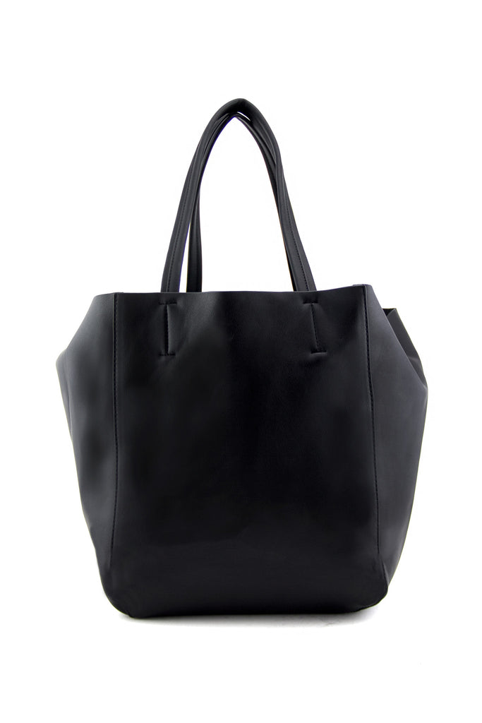 RONI VEGAN LEATHER TOTE - Black