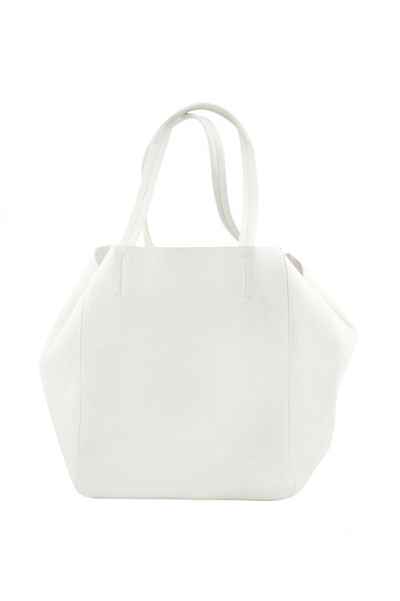 RONI VEGAN LEATHER TOTE - White - Haute & Rebellious
