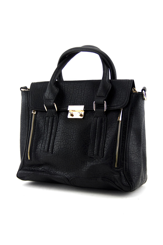 SLIM HANDLE TOTE - Black