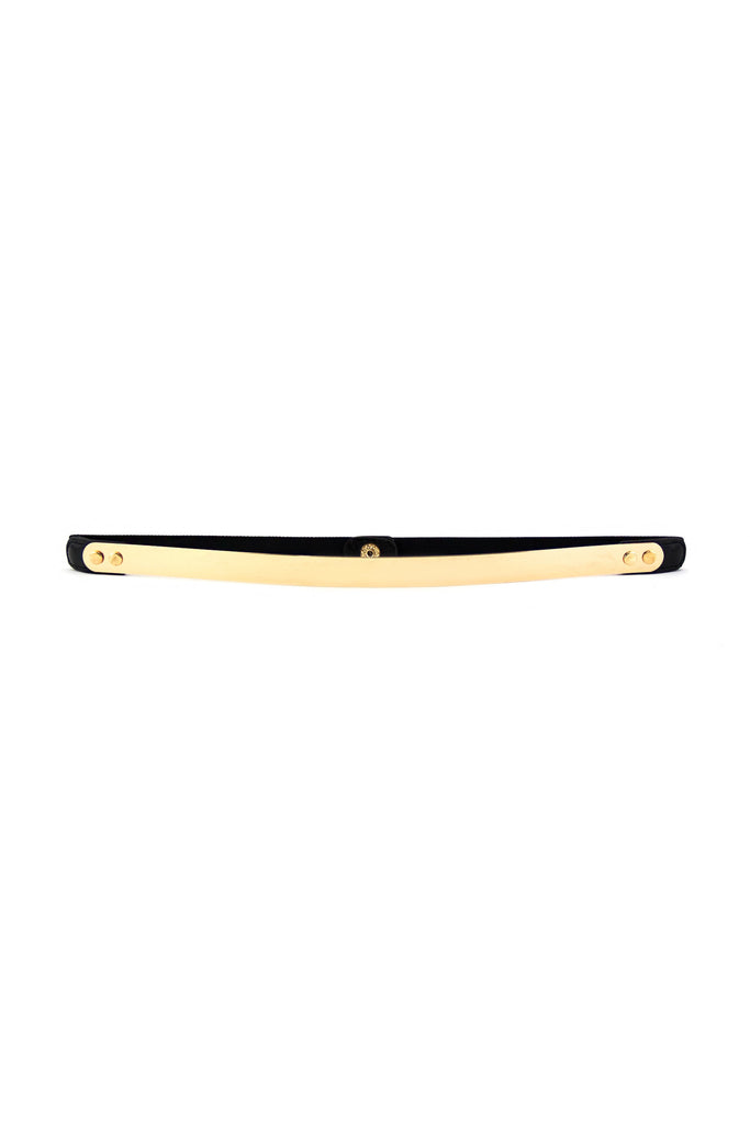 THIN GOLD PLATED BELT - Black