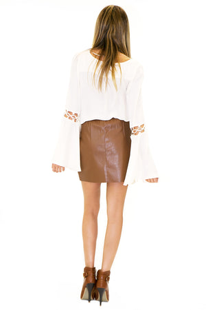 TANGLED SLEEVE CHIFFON BLOUSE - Cream - Haute & Rebellious