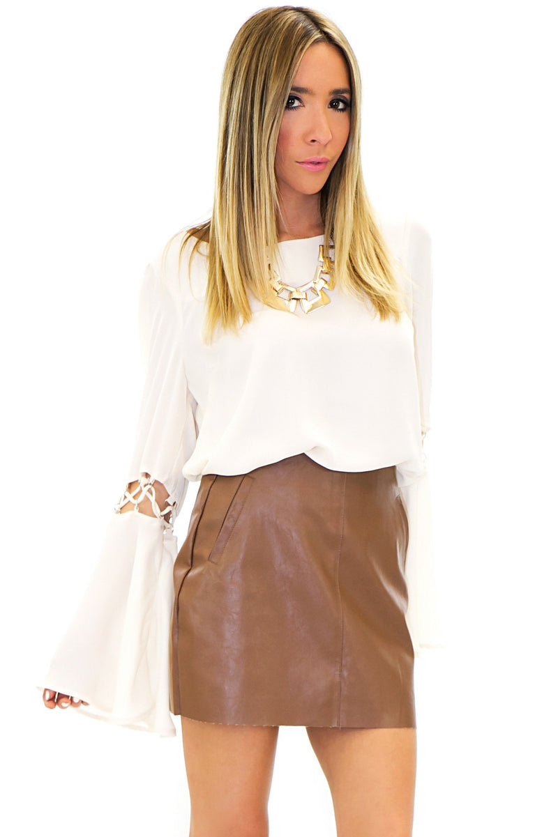 MARION VEGAN LEATHER SKIRT - Haute & Rebellious