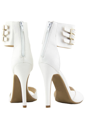 PHOEBE ANKLE STRAP HIGH HEEL SANDAL - White - Haute & Rebellious