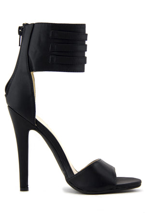 PHOEBE ANKLE STRAP HIGH HEEL SANDAL - Black - Haute & Rebellious