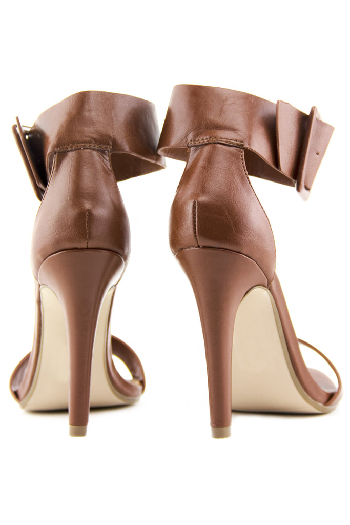 YULIA ANKLE STRAP HIGH HEEL SANDAL - Brown