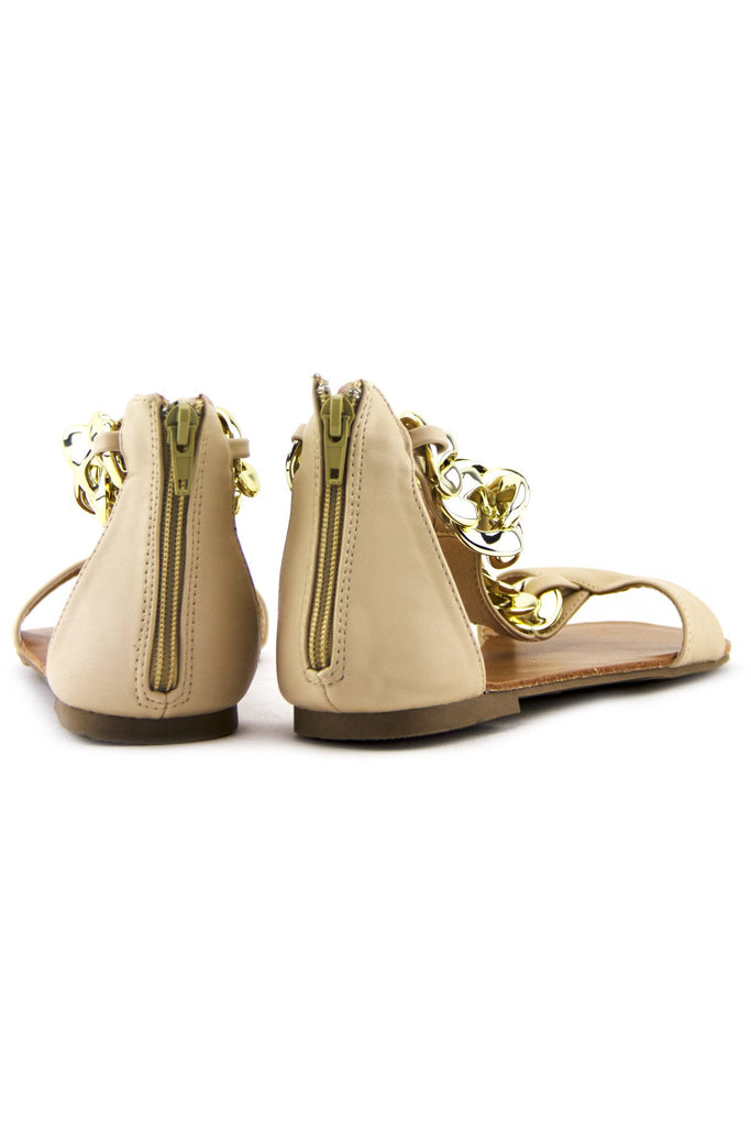 GOLD CHAIN T-STRAP SANDAL - Nude