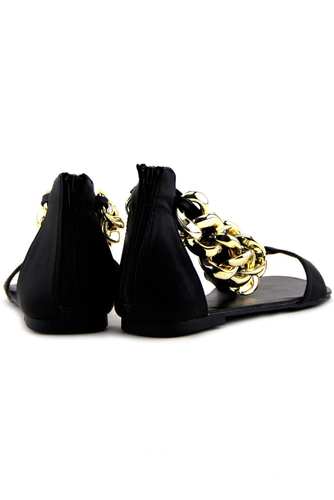 GOLD CHAIN T-STRAP SANDAL - Black