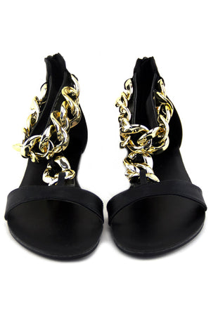 GOLD CHAIN T-STRAP SANDAL - Black - Haute & Rebellious