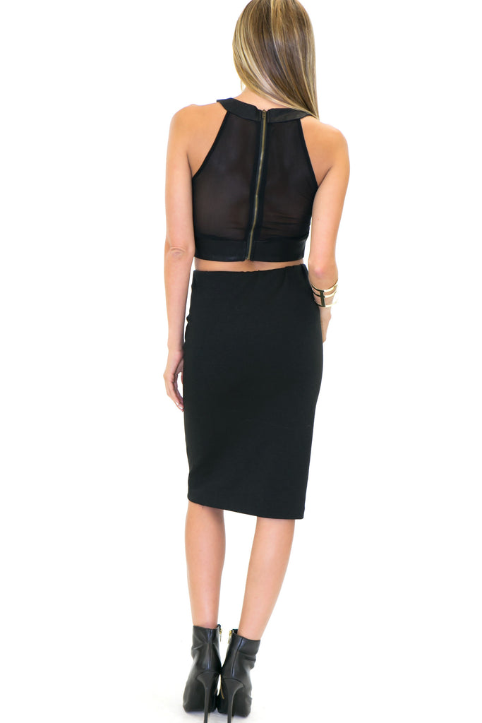 ROM LEATHER CONTRAST CROP TOP