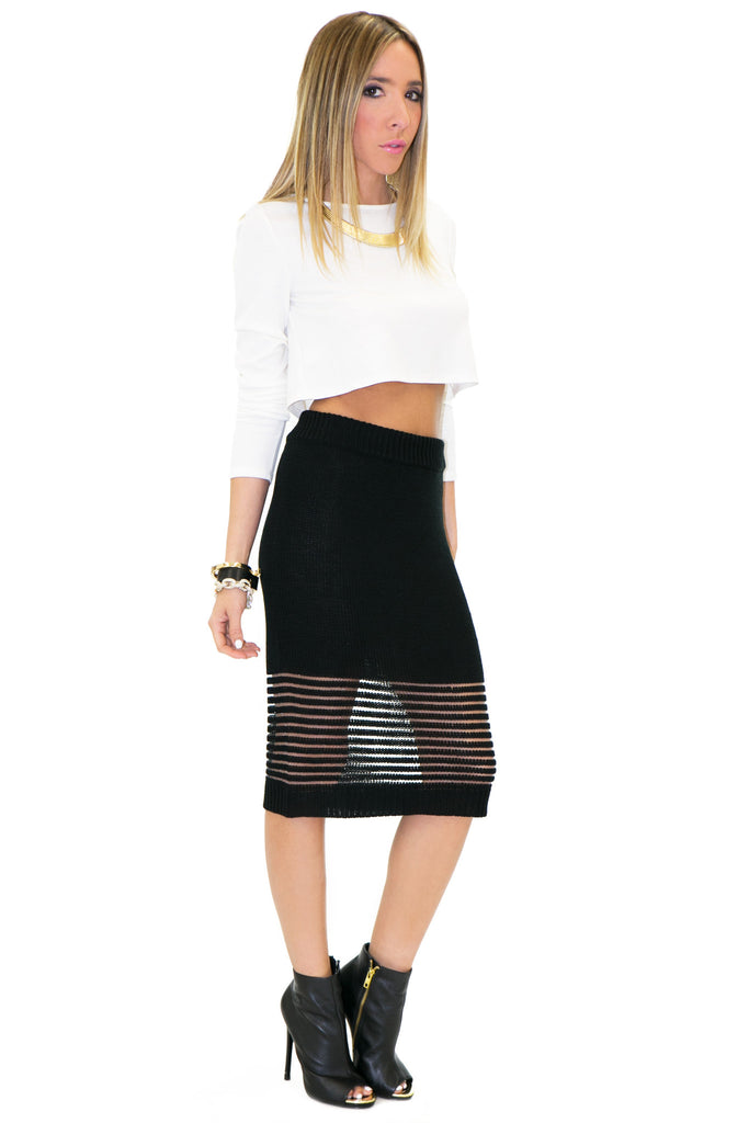 RETA WOVEN PENCIL SKIRT - Black