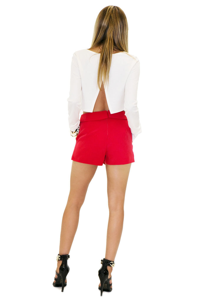 HALIE ASYMMETRICAL SKORT - Red