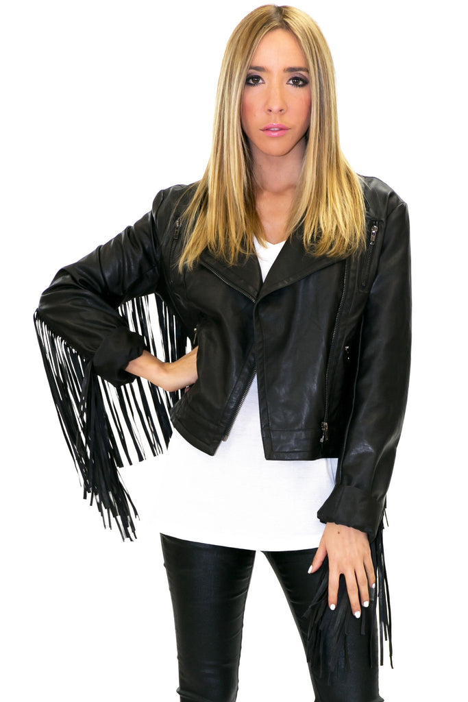 FRINGE VEGAN LEATHER MOTO JACKET
