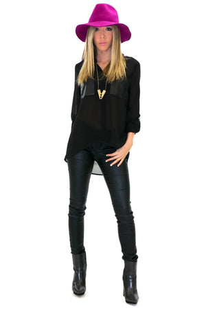 LEATHER POCKET CHIFFON BLOUSE - Black - Haute & Rebellious