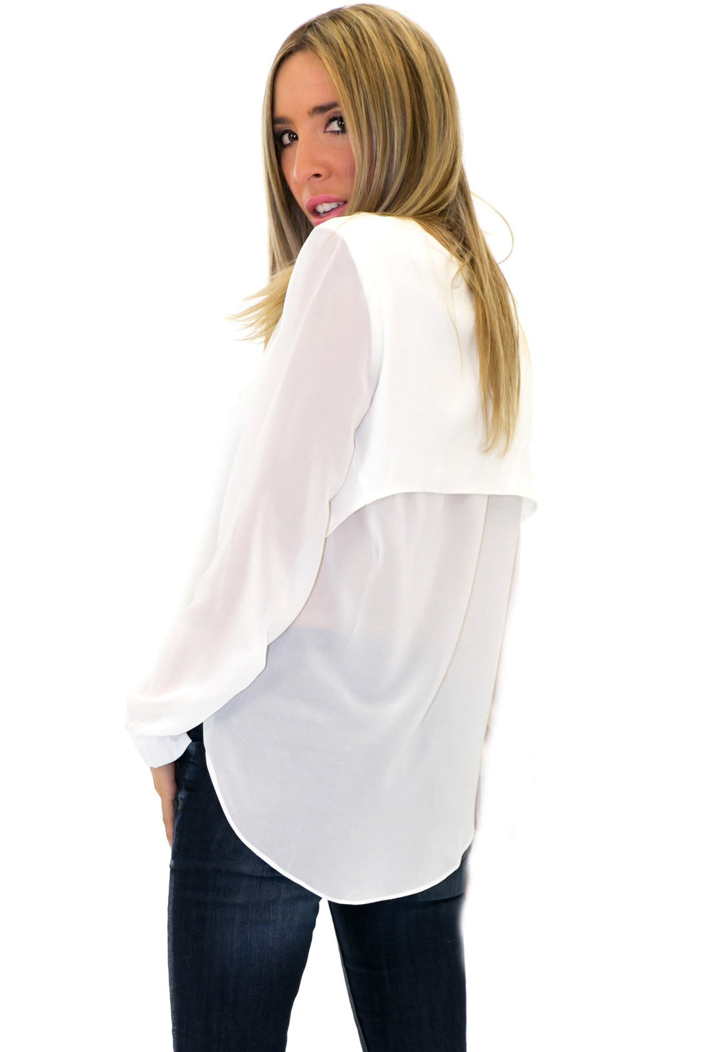 MOLI OPEN BACK CHIFFON BLOUSE - White - Haute & Rebellious