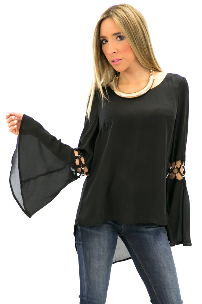 TANGLED SLEEVE CHIFFON BLOUSE - Black