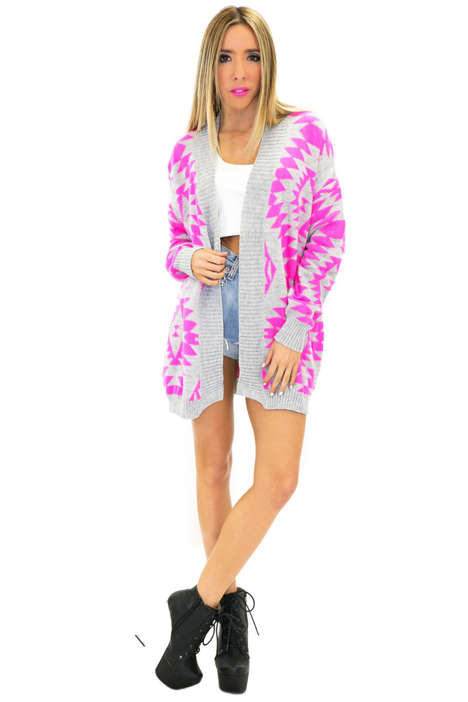ANNU NEON TRIBAL PATTERN CARDIGAN