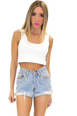 HIGH WAISTED STUDDED DENIM SHORTS - Haute & Rebellious