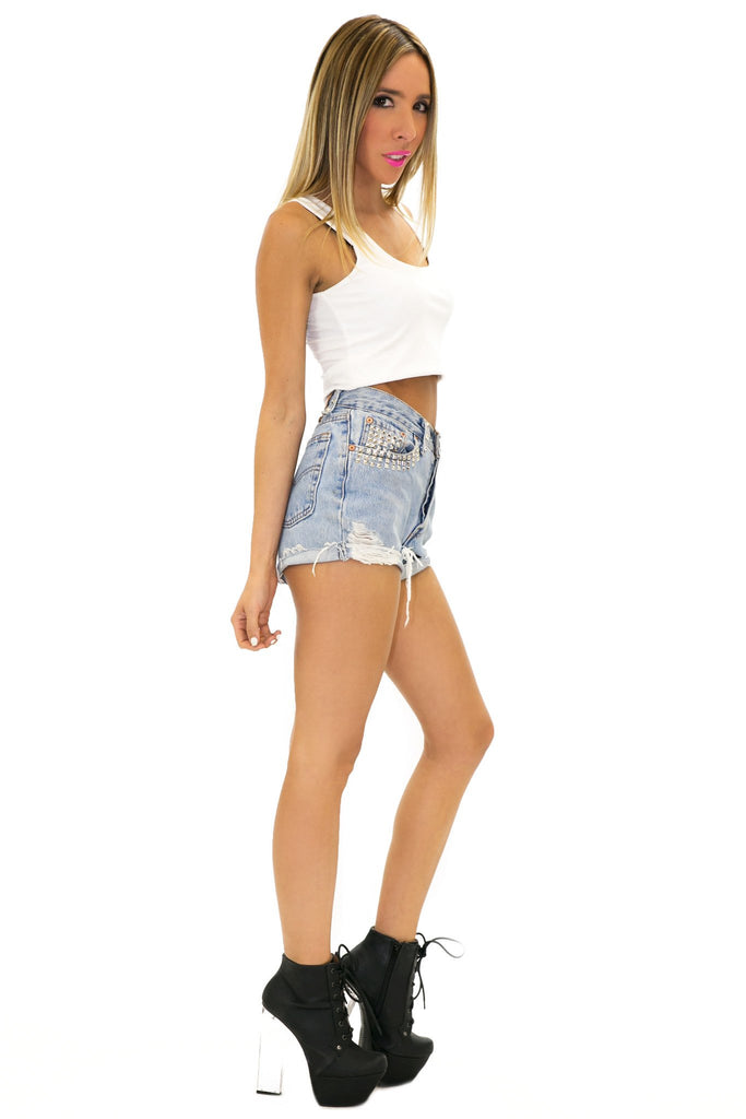 HIGH WAISTED STUDDED DENIM SHORTS