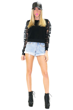 SALINA CROP SWEATSHIRT TOP - Haute & Rebellious