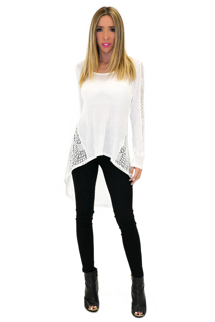 LANA LACE BACK LONG SLEEVE SHIRT
