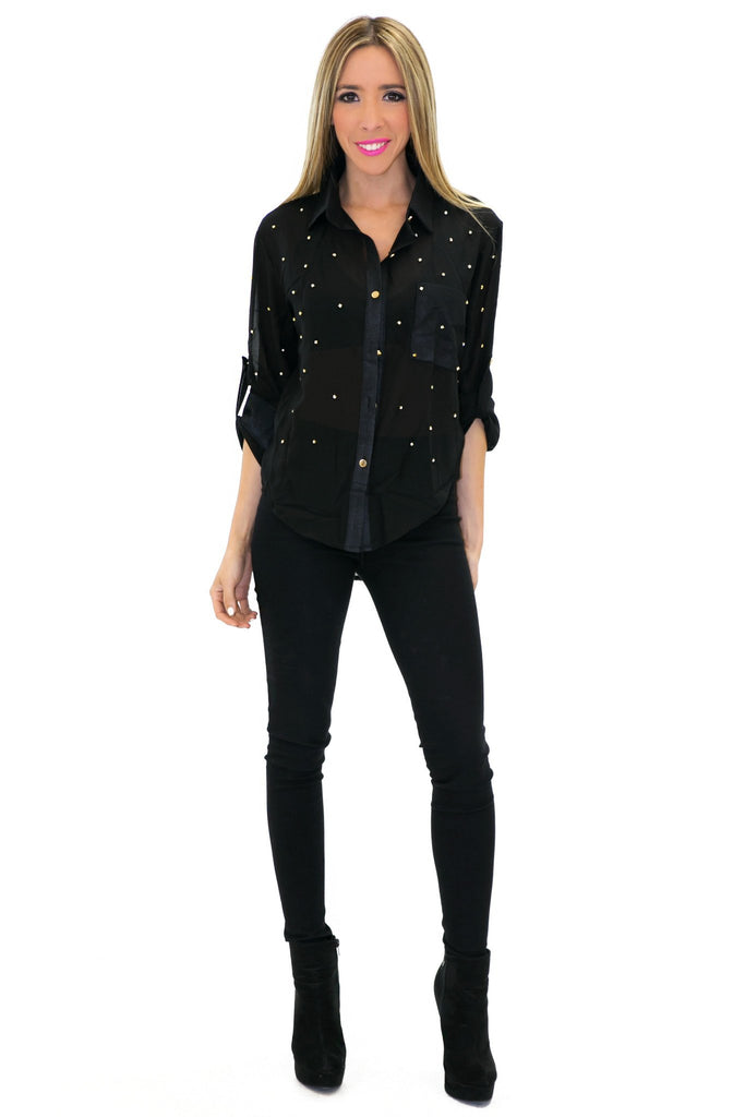 LOREN ONE-POCKET STUDDED CHIFFON BLOUSE