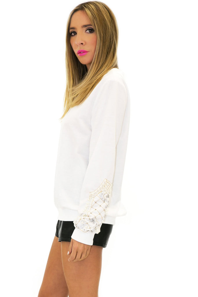 HANA EMBELLISHED SLEEVE SWEATER