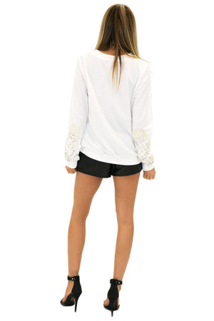 HANA EMBELLISHED SLEEVE SWEATER - Haute & Rebellious