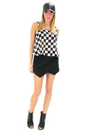 CHECKER PRINT CHIFFON CROPPED TOP - Haute & Rebellious