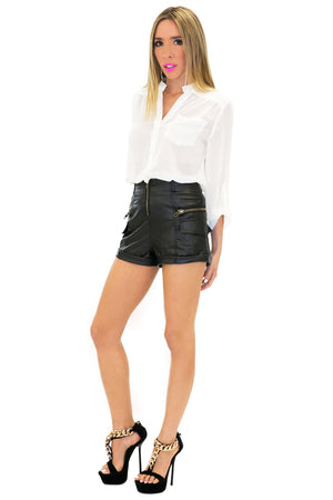 DOUBLE ZIPPER VEGAN LEATHER SHORTS - Haute & Rebellious