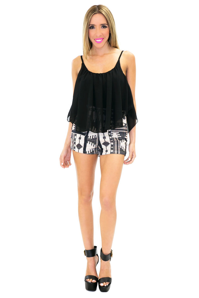 ETHNIC PRINT HIGH WAISTED SHORT