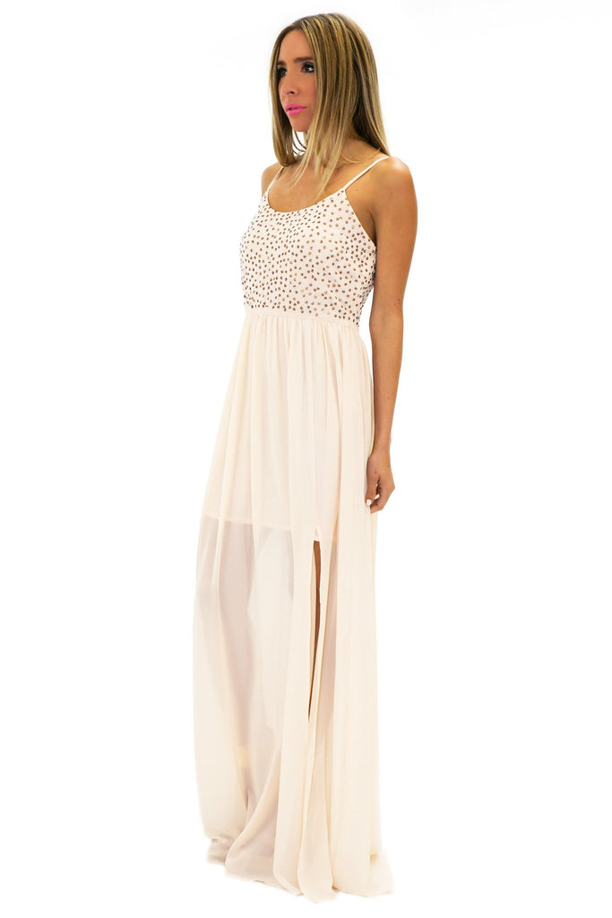 MADISON BEADED LONG DRESS - Cream