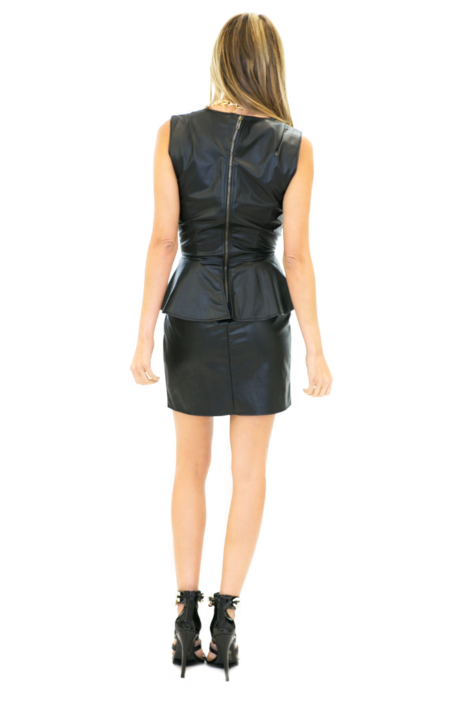 SONIA PEPLUM LEATHER DRESS