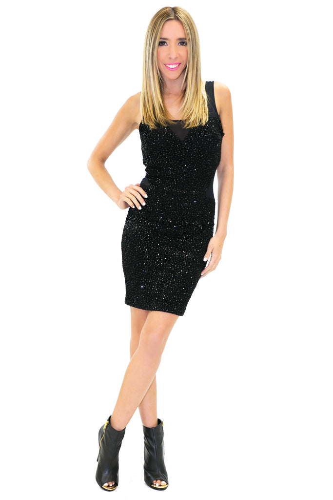 SASHA GLITTER MESH DRESS