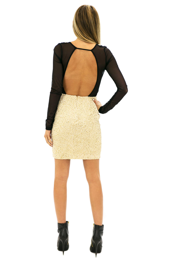 VALERI GLITTER & MESH DRESS