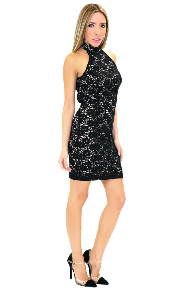 SANDRA LACE DRESS WITH NUDE CONSTRAST