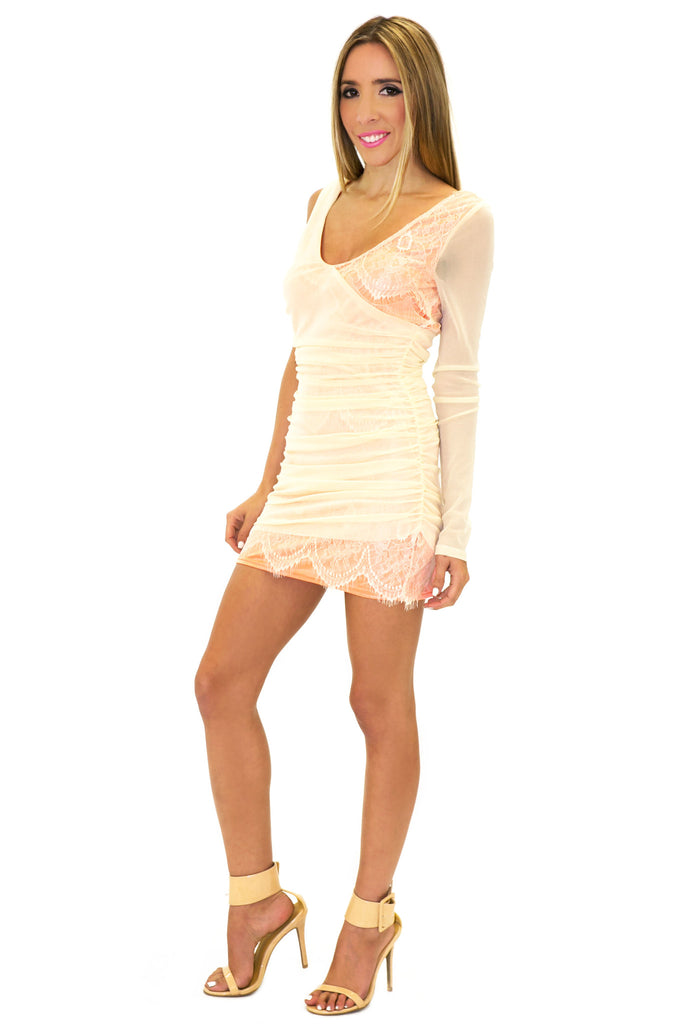 ONE SHOULDER LACE DRESS - Cream