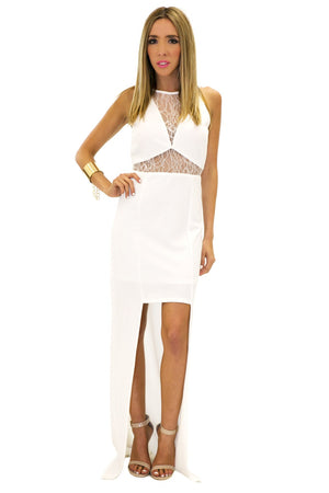 CONTRAST LACE DRESS - White - Haute & Rebellious
