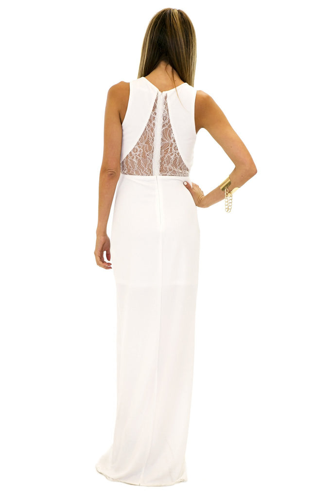 CONTRAST LACE DRESS - White