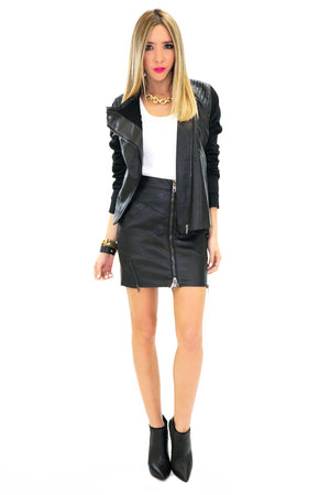 BRIN LEATHER CONTRAST MOTO JACKET - Black - Haute & Rebellious