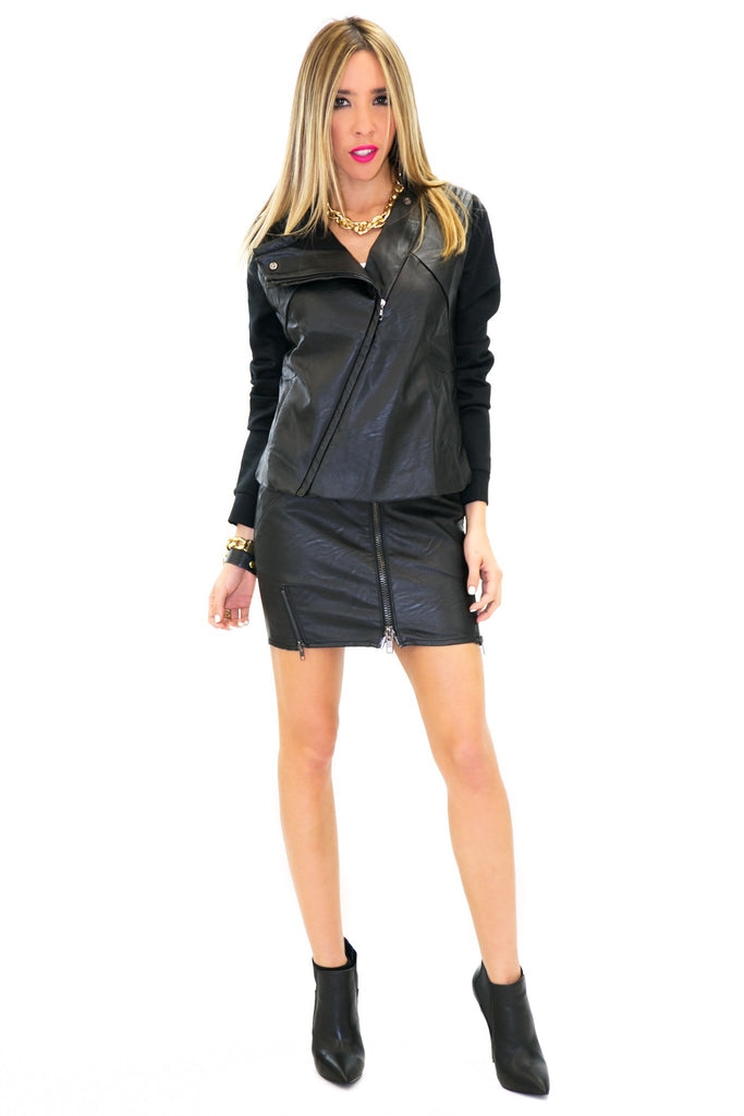 BRIN LEATHER CONTRAST MOTO JACKET - Black