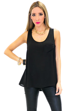 BASIC POCKET SLEEVLESS TANK - Black - Haute & Rebellious