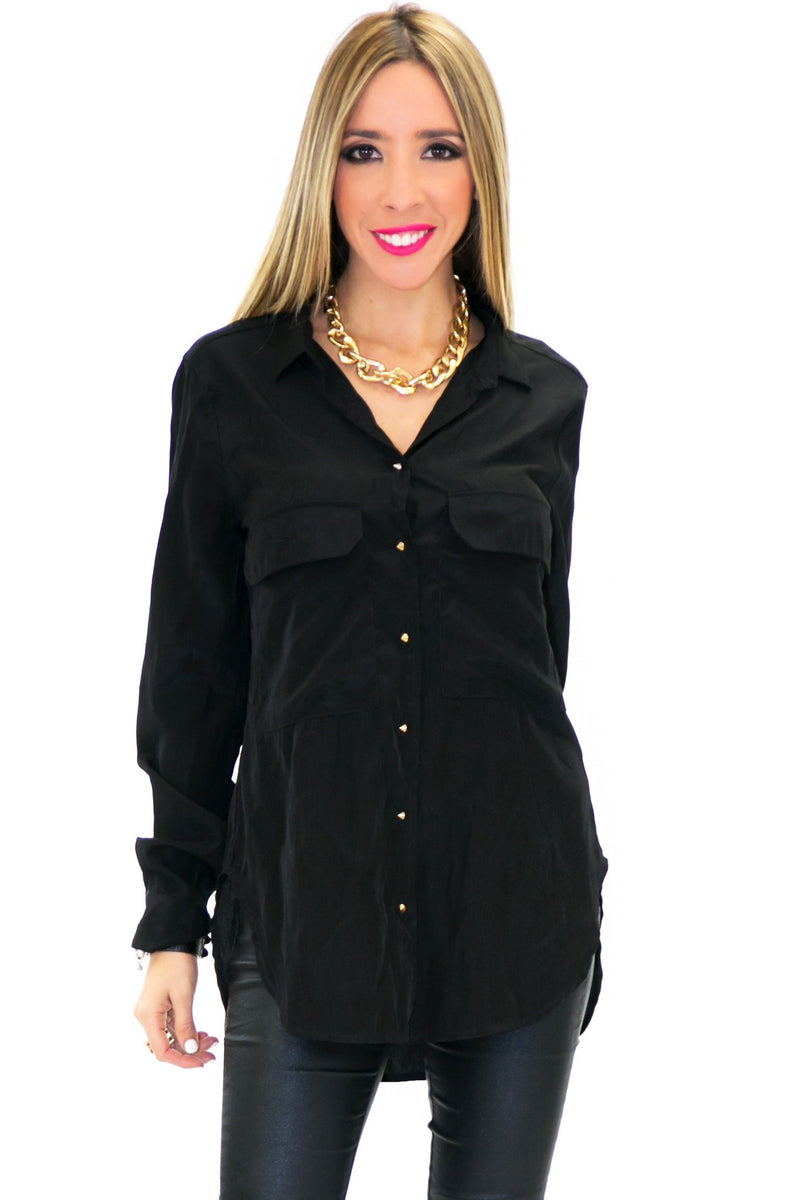 BASIC TWO POCKET PYRAMID BUTTONS - Black - Haute & Rebellious