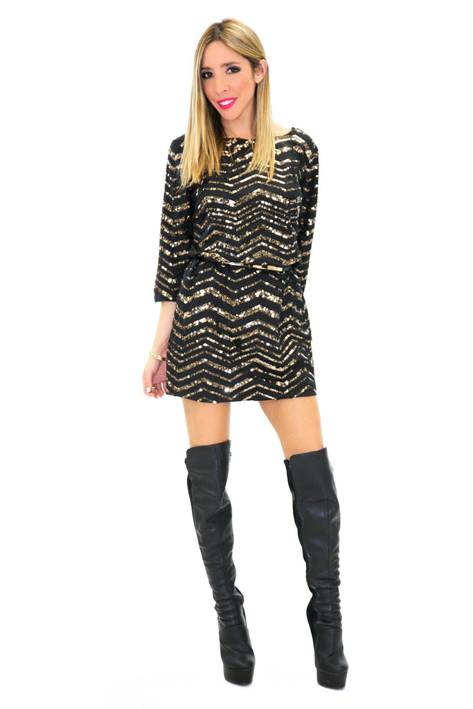 BELL SEQUIN CHEVRON DRESS