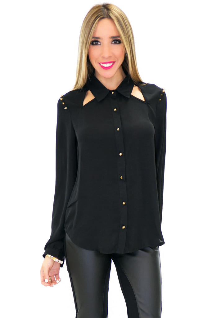 SPIKE SHOULDER CHIFFON CUTOUT TOP - Black