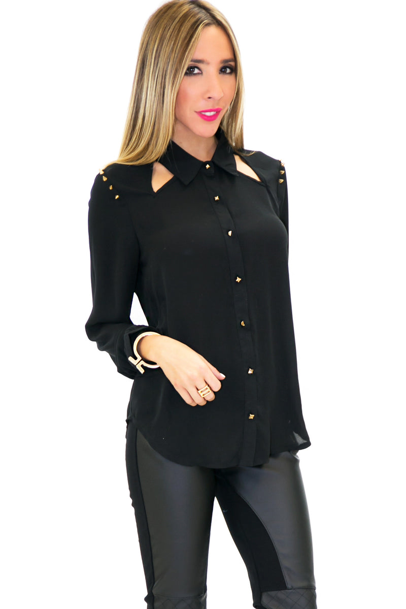 SPIKE SHOULDER CHIFFON CUTOUT TOP - Black - Haute & Rebellious