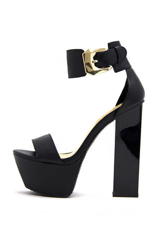GOLD PLATED TOE FLAT - Black