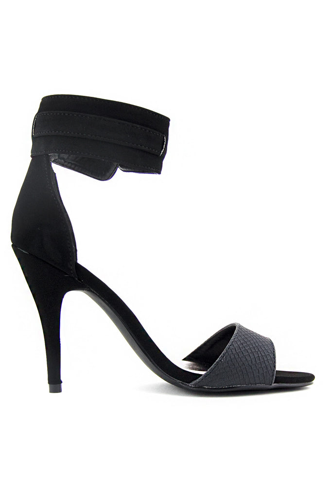 SUEDE ANKLE STRAP HEEL - Black - Haute & Rebellious