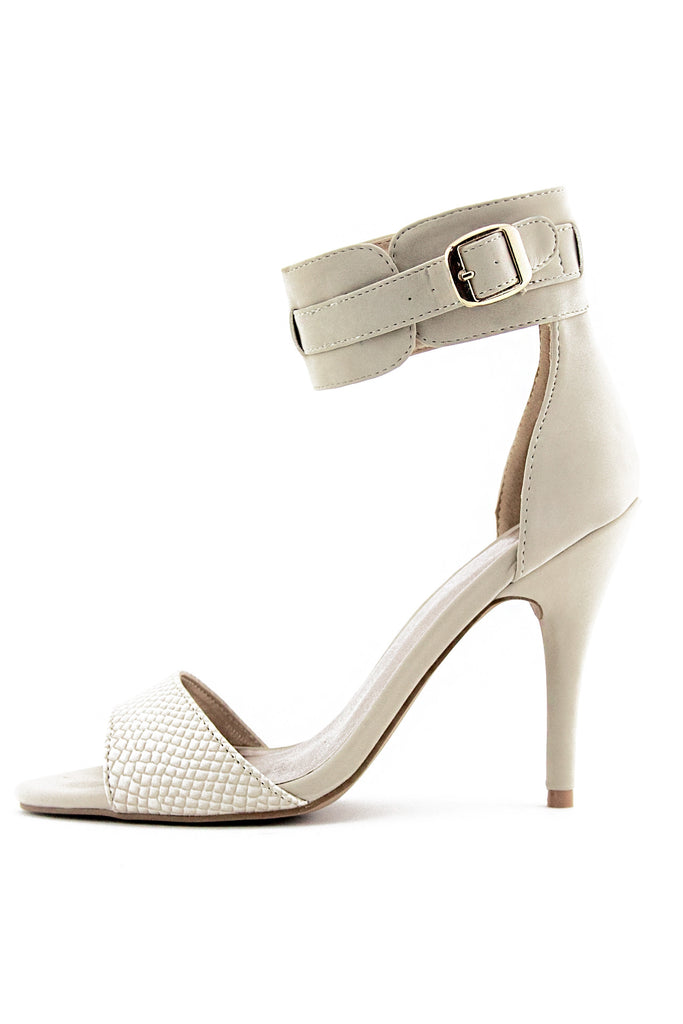 SUEDE ANKLE STRAP HEEL - Nude - Haute & Rebellious