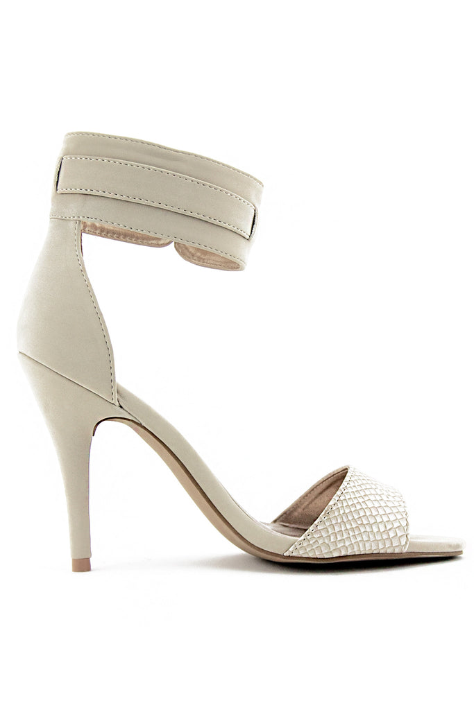 SUEDE ANKLE STRAP HEEL - Nude